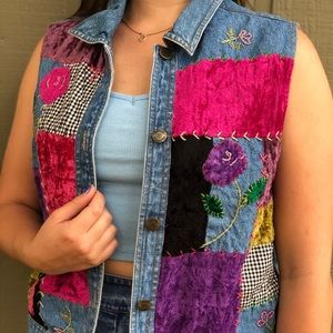 VINTAGE Y2K Denim Embroidered Vest